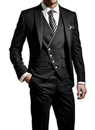 $enCountryForm.capitalKeyWord NZ - Latest Design Black Wine Red Men's Suit Three-Piece For Wedding Business Men Suits Groom Wear(Jacket+Pants+Vest+Tie) All Year