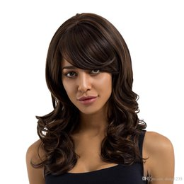 Long Wavy Hair Pictures Australia - Lady Long Side Bang Full Wig Wavy Curly Brown Synthetic Hair Cosplay Costume>>>>>Free shipping New High Quality Fashion Picture wig
