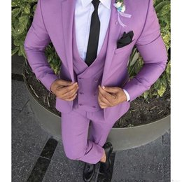 Wedding Casual Suits For Mens NZ - 2019 Casual 3 Pieces Prom Wedding Suits For Men Groom Tuxedos One Button Notch Lapel Groomsmen Best Man Suit Wedding Mens Suits