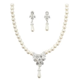 $enCountryForm.capitalKeyWord Australia - Hot Sale Pearls Bridal Jewelry Set Silver plated Necklace Pearls earrings Wedding Jewellery sets for Bride Bridesmaids women Accessories