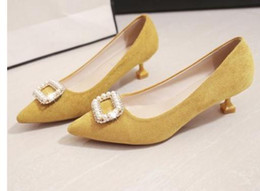 $enCountryForm.capitalKeyWord Australia - Hot Sale-2019 Suede Women's shoes in Spring and Autumn with New style Low heel fine heel pointed end water drill
