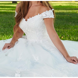 ivory fancy dress NZ - Fancy Wedding Dresses 2019 Off the Shoulder Lace Tulle Ball Gown Wedding Dresses High Waist Bridal Gowns White ivory Wedding dress
