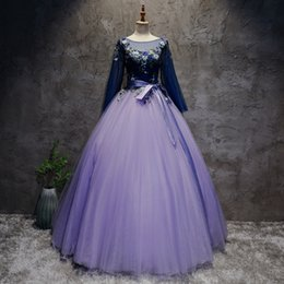 12 year dresses sleeves NZ - 2018 New Backless Purple Long Sleeve Appliques Ball Gown Quinceanera Dresses Lace Up Sweet 16 Dresses Debutante 15 Year Party Dress BQ78