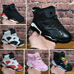 the latest 760a5 c7513 2018 Children 6 Basketball shoes for Boys Girls ReTro Infrared Carmine 6s  UNC Toro Hare Oreo Maroon Youth Sports Sneakers Kids size EU28-35