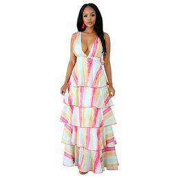 681fa3d7f81 Women Bohemian Maxi Dresses Backless Australia - Colorful Print Summer  Beach Dress For Women Deep V