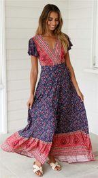 $enCountryForm.capitalKeyWord NZ - Womens Summer Designer Floral Print Bohemian Dresses V Neck Split Short Sleeve Female Clothing Fashion Maxi Casual Apparel