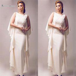 $enCountryForm.capitalKeyWord Australia - 2019 Vintage Sheath Floor Length Mother of the Bride Dresses Ivory Satin Wedding Dress Ruffles Plus Size Chiffon Evening Gowns