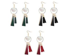 $enCountryForm.capitalKeyWord UK - Vintage Gold Color Round Leather Tassel Earrings Bohemia Wood Shell Pendant Drop Earrings For Women E1053