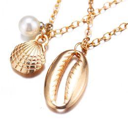 Conch Pearl Charm Australia - Natural Starfish Conch Seashell Pendant Necklace Fashion Summer Style seashell with pearl charm necklace gift for beach