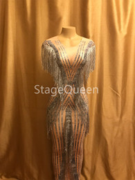 sequin fringe dance Australia - Women Sexy Stage Nude Printed Pattern Evening Fringes Dresses Birthday Celebrate Summer Costume Singer Performance Dance Dress DS DJ Dress