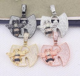 Bee Pendants Australia - 5pcs Metal Copper Micro Pave CZ Insect Bee Pendant For Necklace Jewelry Making