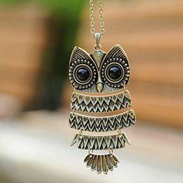 Ancient Silver Owl Australia - Retro Jewelry Vintage Ancient Bronze Big Eyes Owl Necklace Pendant Statement Long Chain Choker Gift