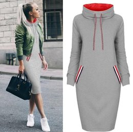 $enCountryForm.capitalKeyWord Canada - Fashion2019 Women's Long Sleeve Pullover Sweatshirt Knee Length Pocket Causal Hoodie Dress Plus Size SF18138
