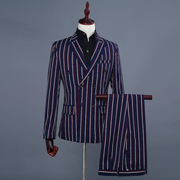 Fly Suits Australia - Men's Striped Groom Dresses Double Breasted Show Mens Suits England Breasted 2 Piece Suits Men Blue Men Dress Suits