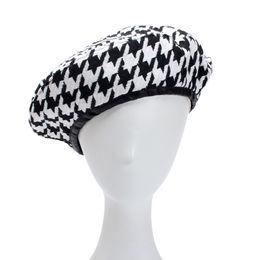 Discount wholesale korean cap - Harajuku Women's Female Hats Autumn Winter Fashion Patchwork Black White Houndstooth Berets Hats Cap Korean Streetw