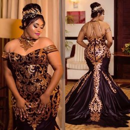 Sequin Art Patterns Australia - Luxury Black And Gold Sequin Mermaid Prom Dresses Art Neck Off Shoulder Plus Size Formal Evening Gowns African Arabic Special Occasion Dress