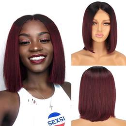 $enCountryForm.capitalKeyWord Australia - Short Burgundy Ombre Human Hair Bob Wigs Straight Lace Front Wig Virgin Malaysian Hair Full Lace Wig Ombre Two Tone #1B #99J