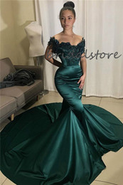 black gold dresses evening wear Australia - Dark Green Mermaid Evening Gowns With Train Sexy Off The Shoulder 3d Florals Long Prom Dresses Black Girls Dresses Evening Wear 2020 Cheap