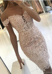sexy tight t shirts NZ - 2019 New White Full Lace Homecoming Dresses Buttons Off-the-Shoulder Sexy Short Tight Custom Made Cocktail Dress Fast Shipping 258 prom