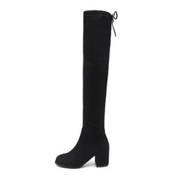 $enCountryForm.capitalKeyWord Australia - 2018 Black Pointed Toe Women Thigh High Long Boots Back Lace Up Brand Designer Over The Knee Boots Ladies Thick Heels