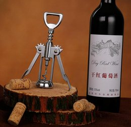 Wholesale Stainless Steel Wine Bottle Opener Handle Pressure Corkscrew Red Wine Opener Kitchen Accessory Bar Tool Wing Corkscrew Opener Free ship