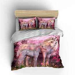 $enCountryForm.capitalKeyWord Australia - Pink Unicorn Double Size Bedding Set 3D Printed Forest King Duvet Cover Beautiful Lifelike Home Dec Single Queen Bed Cover with Pillowcase