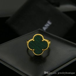 real gold ring designs Australia - Hot Uphot 18K real Gold Plated Rings Four Leaves Clover Design Lady Finger Ring nature gemstone agate shell Fit all Girls OL Women