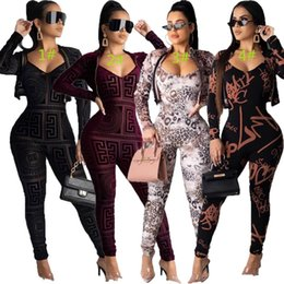 Wholesale sexy camping clothes for sale – custom Womens jumpsuit coat two piece set tracksuit long sleeve jacket rompers sexy jumpsuit women clothing hot selling klw2943