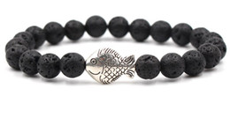 $enCountryForm.capitalKeyWord Australia - 8mm dh3d ball elastic thread adjusted nature black stone volcanic lava bead Metal fish Bracelet Reiki Chakra Fashion Jewelry