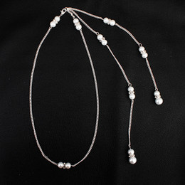 $enCountryForm.capitalKeyWord Australia - 2019 hot Bride jewelry Europe and the United States set diamond pearl pendant tassel back chain bride necklace manufacturers dire