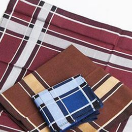 Scarf Square Cotton Australia - Mens Tartan Pocket Square Cotton Handkerchief High Quality Classic Pattern Plaid Stripe Vintage Scarves 43*43cm PPA187