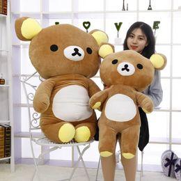 $enCountryForm.capitalKeyWord Australia - Japan Anime Rilakkuma Plush Toy Giant Stuffed Cartoon Soft Relax Bear Doll Pillow for Friend Kids Gift 55inch 140cm DY50629