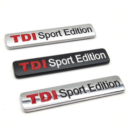 Discount sports car badges - 100PCS 3D Metal TDI Sport Edition Emblem Decor Car Badge Styling Stickers 83x17mm