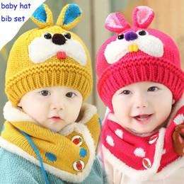 40d24a72bcb New Cartoon Rabbit Baby Hat Thickening Knit Hat Autumn Winter Wool Cap  Children Hat Scarf Two-piece Suit