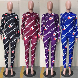 Summer Sportswear Suit Australia - Women Champion Tracksuits Hoodies + Pants 2 Piece Suit Spring Summer Casual Pullover Trousers Outfits Sportswear Sweatsuit C3255