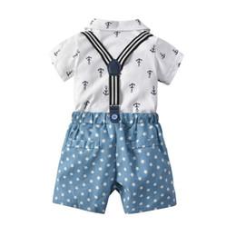 Shirt Stars Australia - Children's Summer Boy Set 2018 Children's Wear Korean Cotton Bow Tie Sea Anchor Star Print Two-piece Set Shirt and shorts