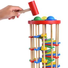 Wholesale Wooden color knocking ball falling ladder hitting toys knocking table children baby infant early childhood education toys