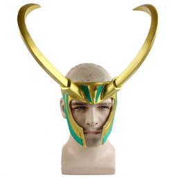 Christmas Movie Costumes UK - 2019 Movie Thor 3 Ragnarok Loki Laufeyson PVC Cosplay Costumes Mask Helmet Halloween Prop