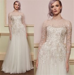 $enCountryForm.capitalKeyWord Australia - Luxury Beadings Sequins A-line Bridal Gowns French Lace made Long Transparent Sleeves Empire Waist Princess Wedding dresses
