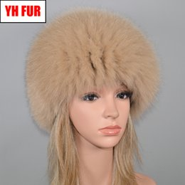 $enCountryForm.capitalKeyWord Australia - New Women Outdoor Winter Natural Real Fox Fur Hat Russia Elastic Warm Soft Fluffy Genuine Fox Fur Cap Real Bomber Hats