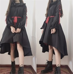 cute puppets UK - dress style Cute Puppet Doll Style Lolita OP Dark Girl Bind Belt Ruffles Bowknot Loose Dress