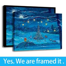 Pooh Cartoon Australia - The Pooh Merry Christmas Wall Decor Art HD Prints on Canvas Framed Art - Ready To Hang - Support Customization