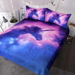 Space Bedding Australia - BlessLiving Galaxy Unicorn Bedding Set Kids Girls Space Duvet Cover 3 Piece Pink Purple Sparkly Unicorn Bedspread