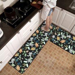 $enCountryForm.capitalKeyWord NZ - American style Flower black Kitchen mat wooden floor mat Bedroom bedside strip rug non-slip door printing plush carpet