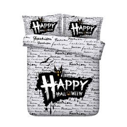 $enCountryForm.capitalKeyWord Australia - Halloween 3 Pieces Reactive Printing Quilt Cover Duvet Cover Black And White Bed Set Festival Decoration Bedding No Comforter B