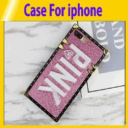 $enCountryForm.capitalKeyWord Australia - Luxury Embroidery 3D Pink Letter Case For iphone 6 7 8 Plus Glitter Metal Square Phone Cases for iPhone X XR XS Max retail2