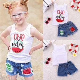 Girls Tassel Shirt Australia - Summer baby girl kids clothes Set Watermelon Sleeveless letter T-shirt Top+Denim Shorts 2 pcs Kids Designer Clothes Girls JY318