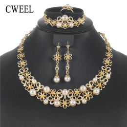 Pearl Bridal Jewellery Australia - CWEEL Jewelry Sets Luxury Turkish Jewelry Vintage Bridal Wedding Jewellery Set For Brides Simulated Pearl Indian Set
