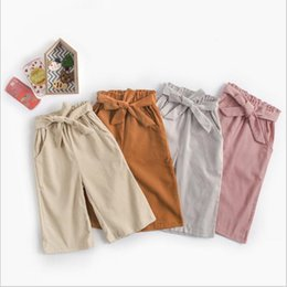 a4a35320a283 Ropa de bebé Niñas Boutique Pantalones de Pana de Moda Pantalones de Pierna  Ancha Chica Sólido Casual Capris Cinturón Elegante Amplia Pierna Pantalones  ...