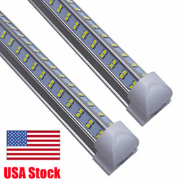 8ft Led Loja Luzes, 8 pés refrigerador porta do freezer LED Lighting Fixture, 4 Row 144W 14400 lm, V Forma fluorescentes LED Tubes luzes claras Tampa em Promoção
